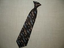 Vintage Mens Clip-on Neck Tie JCPenny Necktie Clip On Tie Brown Blue White