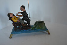 Vintage Cast Iron Mechanical Bank Dentist Pulls Tooth Money