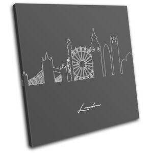 London Abstract Line Art City SINGLE CANVAS WALL ART Picture Print VA