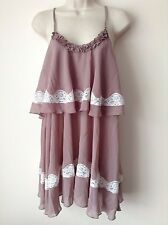 Next Women`s Slip Mink Guipure Embroidery Babydoll Size 12