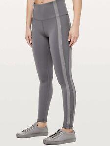 Lululemon Size 8 Power Lines Pant Leggings High Waist Yoga Tight Titanium Gray