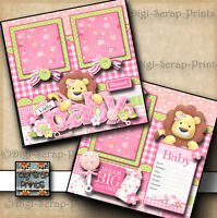 BABY GIRL ~  2 premade scrapbook pages paper piecing layout for album DIGISCRAP