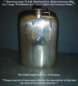 "Antique Liqueur Prohibition Era EAM Elgin American Sterling Silver Hip Flask 7""T"