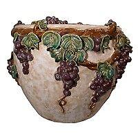 Ceramic Carved Grape Planter