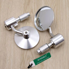 SILVER ROUND UNIVERSAL MOTORCYCLE BAR END MIRRORS BIKE/MOTORBIKE REARVIEW CL-1