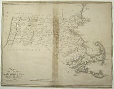 SAMUEL LEWIS Antique Map State Of MASSACHUSETTS United States Mathew Carey 1795
