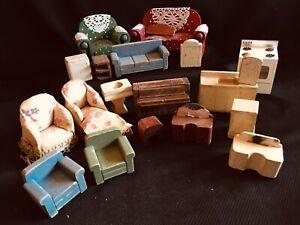 Vintage Wood Dollhouse Furniture, Mixed Sizes, Large Lot