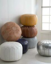 Moroccan POUF **30% OFF** with White Stitching Leather Pouf Ottoman Pouf Morroca