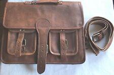 handmade goat leather  Brown Shoulder Laptop Bag Briefcas size: 15-12