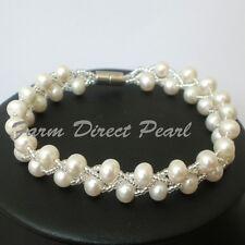 "Genuine White Pearl Bracelet 7"" 7.5"" Magnetic Multi 2 Strand Cultured Freshwater"
