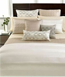 New Hotel Collection Off White Woven Cord Queen Duvet Cover & Shams 3pc