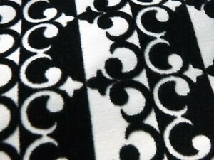 """Vtg Fabric Backed Black White Flocked Vintage Wallpaper 24"""" x 168"""" in 3 Pieces"""