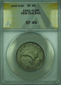 1940 FLOR New Zealand ANACS EF 45 1 Florin Silver Coin KM#4