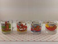 Vintage Garfield Odie McDonalds Glass Coffee Mugs Lot Of 4 Cups Jim Davis
