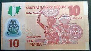 Nigeria 10 naira 2018 misprint wrongly cut Last serial number from bundle No. 00