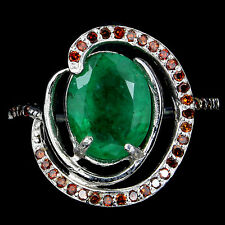 NATURAL 3.16Ct EMERALD &GENUINE RED DIAMOND RING,7 WHITE GOLD over 925 SILVER