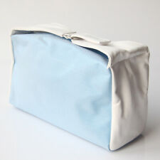 "BRAND NEW QIORA BLUE / WHITE ZIP MAKEUP BAG  APX. SIZE = 9.5"" x 5"" x 4"""