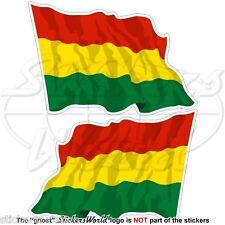 """BOLIVIA Bolivian Civil Flying Flag 75mm (3"""") Vinyl Bumper Stickers Decals x2"""