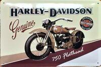 PLAQUE METAL  vintage HARLEY DAVIDSON 750 flathead - 20 x 30 cm