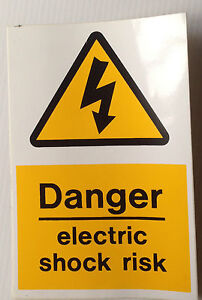Danger Electric Shock Risk Stickers - 150x100mm