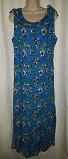 Disney Hawaiian Dress Womens Mickey Print Blue Cruise Rayon M Medium