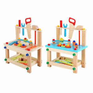 Montessori Wooden Tool Workbench Children Kids Toy Creative Building Gift