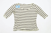New Look Womens Size 10 Striped Cotton Blend Grey Maternity Top (Regular)