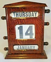 Large Edwardian banking hall English Honey Oak Perpetual Roller Calendar