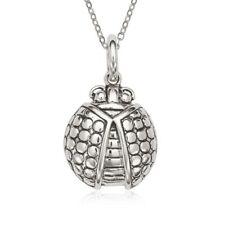 Sterling Silver Fancy Oxidized Ladybug Pendant