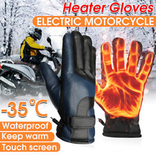 Electric PU Heated Gloves Windproof Winter Heating Warmer for 12v Motorcycle AU