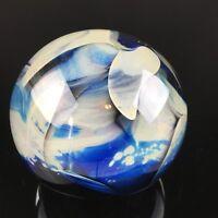 Paperweight Ball Signed Douglas Becker '85 - Cream Blue & Grey Vintage Glass