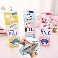 Cartoon Milk Bottle School Pencil Case Cute PU Pen Bag Storage Pouch Stationery