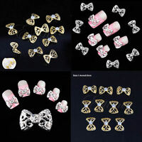 Acrylic 3D Stickers Bow Tie Rhinestone Nail Art Glitter DIY Decoration 10 PCS