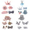 5pcs Kids Baby Girls Bow Hair Clips Lace Flower Barrette Pins Set Gift L7
