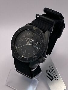 Seiko 5 Sports Men's Auto, Black-tone steel, Black Dial, Strap Watch SRPD79K1
