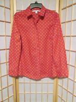 Lauren Conrad LC Women's Rose White Polka Dot Button Down Shirt Sz S