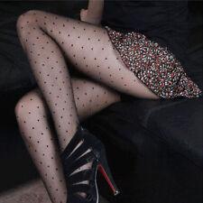 Women's Black Sheer Lace Small Polka Dot Mesh Pattern Tights Pantyhose Stockings