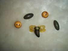 Vintage Buttons Bug Celluloid Bee Button Stripes