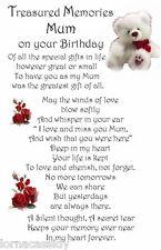 Graveside Memorial Card, Water proof Birthday Mum Gran Nan Sister Daughter F01