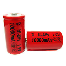2 Size D 10000mAh Ni-MH 1.2V Volt Rechargeable Battery RED Cell HR20 Flashlight
