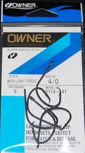 OWNER Black Chrome Mutu Light Wire Circle Hooks 5114-141 Size 4/0 - 5 pack