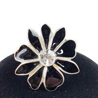 Silver Tone Black Enamel Rhinestone Flower Chunky Cocktail Stretch Ring