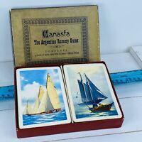 Vintage Playing Cards E.E. Fairchild Canasta Double Deck P167 Sailboats 059