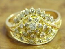 18kt 750 Yellow Gold Ring 0,55ct Brilliant & Diamond Decorations/4,6g/ Rg 54