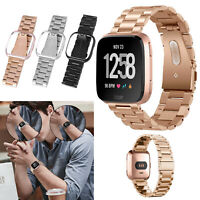Stainless Steel Strap Watch Bracelet Band with Frame Case Cover For Fitbit Versa