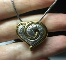 Brighton Heart Necklace Silver And Gold Swirl