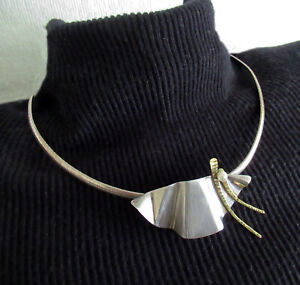 STERLING HANDMADE NECKLACE PENDANT by T. L. WINE - 2 1/4 INCHES, 17 INCHES