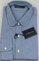 Polo Ralph Lauren Dress Shirt Mens 17 43 Blue Gray Navy Pony Stripe
