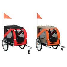 vidaXl Dog Bike Trailer Foldable Sturdy Pet Flag Stroller Jogger Orange/Red