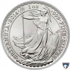 2014 1 oz Horse Privy British Silver Britannia Coin (BU) with Light Toning